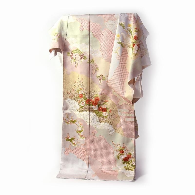訪問着 手縫いお仕立て付き 染の北川 雪輪取りに花々 明灰色 身長168cm位まで、裄69.5cmまで 送料無料