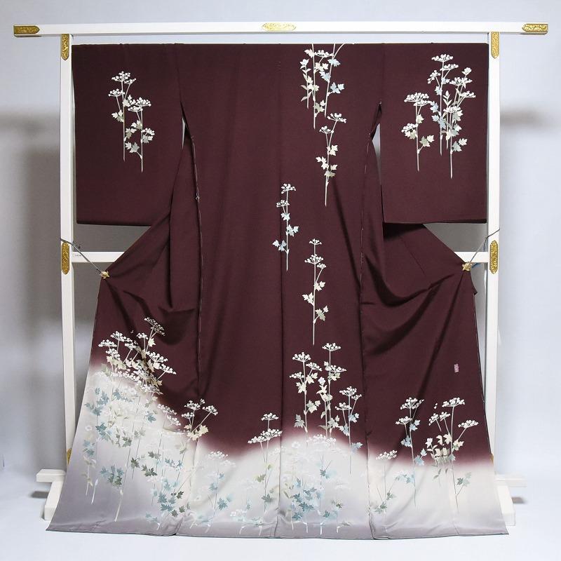 訪問着 手縫いお仕立て付き 十日町友禅 島善織物 女郎花 赤茶系色 身長165cm位まで、裄69cmまで 送料無料