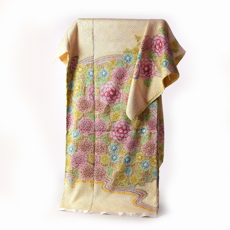 訪問着 手縫いお仕立て付き 総絞り 絞り染め 黄色 菊尽くし 【着物/和服/和装/付き添い/お出かけ】【身長170cmまで、裄71cmまで】【送料無料】