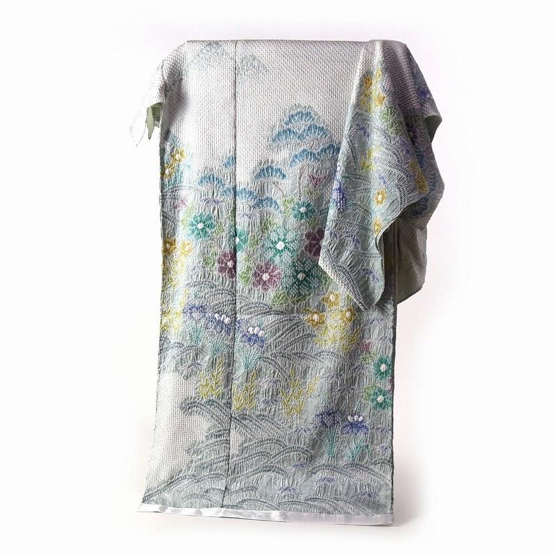 訪問着 手縫いお仕立て付き 総絞り 絞り染め 水色 波に花々 【着物/和服/和装/付き添い/お出かけ】【身長170cmまで、裄71cmまで】【送料無料】