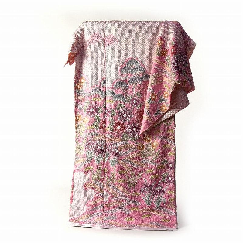 訪問着 手縫いお仕立て付き 総絞り 絞り染め 桃色 波に花々 【着物/和服/和装/付き添い/お出かけ】【身長170cmまで、裄71cmまで】【送料無料】