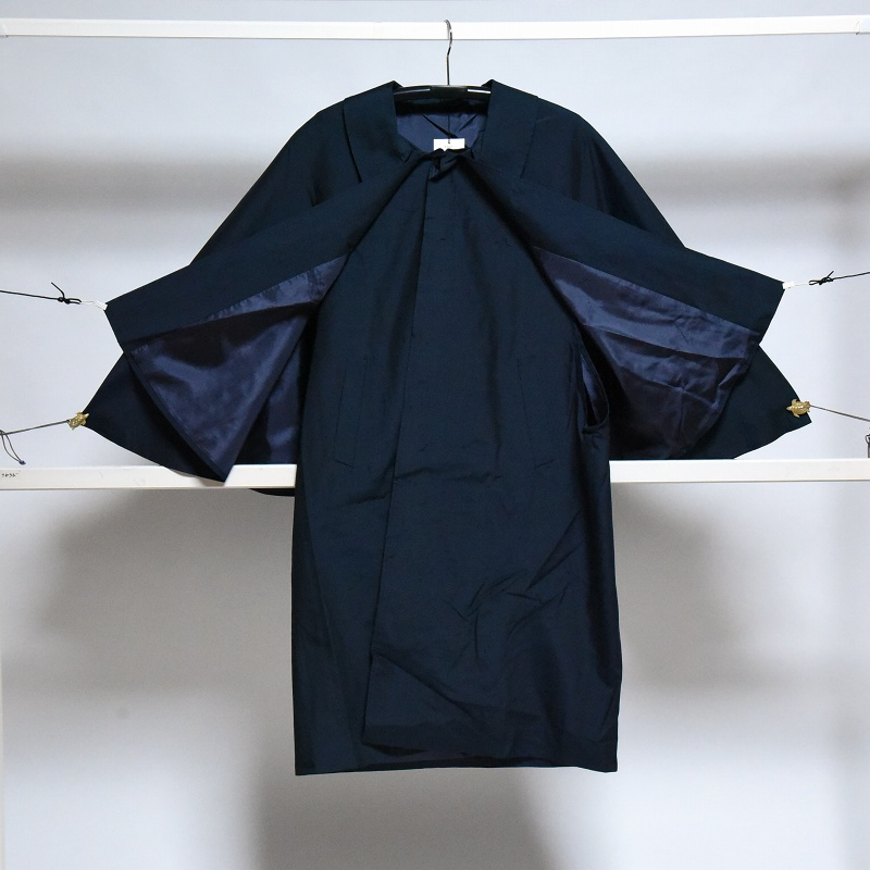 男物 正絹 インバネスコート トンビコート 男性の着物コート 山形県米沢市産 紬地 藍色 Mサイズ 限定1点 マントコート 商人コート 防寒着 二重マント