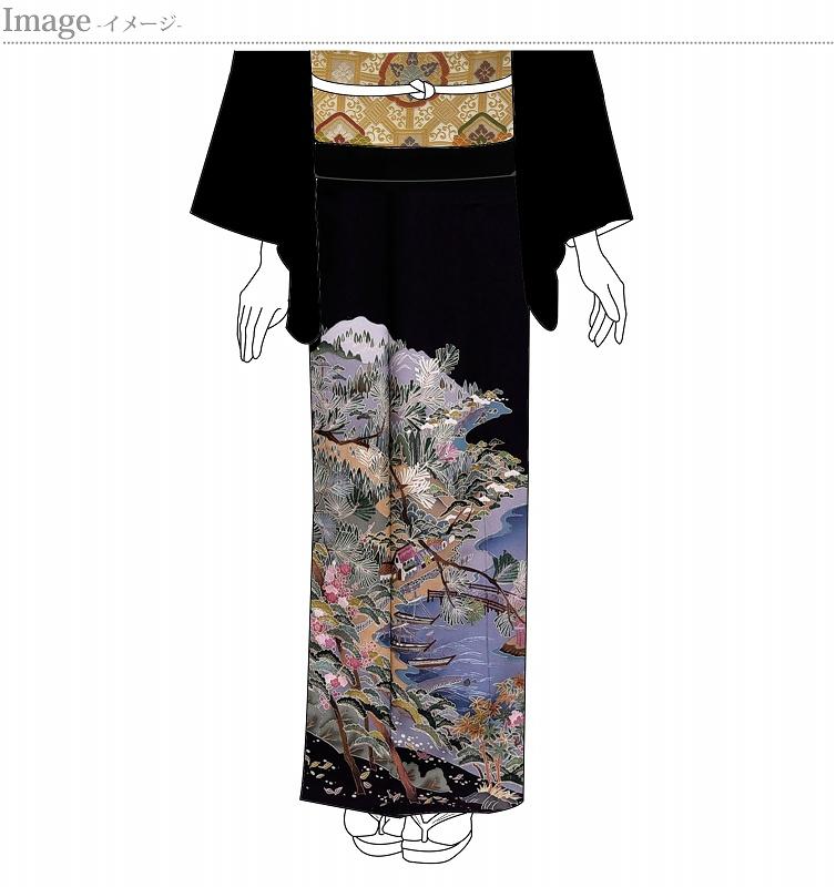 黒留袖 お仕立て上がり 新品未使用品 五つ紋入り(違い鷹の羽)蘇州刺繍 風景文様【身丈159.5cm裄63cm】着物