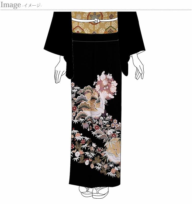 黒留袖 お仕立て上がり 新品未使用品 花の丸に鶴、宝尽くし 五つ紋入り(違い鷹の羽)【身丈158.5cm裄63cm】着物