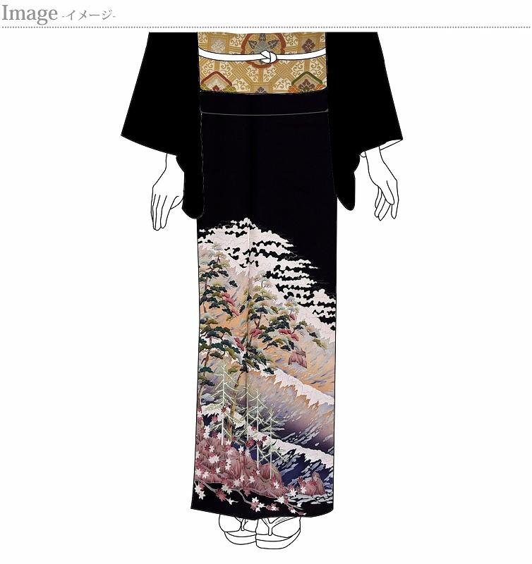 黒留袖 お仕立て上がり 新品未使用品 水辺に松、楓 五つ紋入り(違い鷹の羽)【身丈160cm裄64m】着物