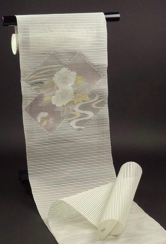 【送料無料】【お仕立て代込み!】 夏帯夏もの 絽綴れ 八寸名古屋帯 金銀糸入りの牡丹