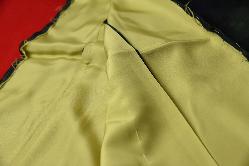 紗合わせ フルオーダー手縫いお仕立て付き 夏物 紗袷 草花模様の紗に鶸系色の通し裏 お洒落着物 深緑のグラデーション 紗合せ 紗あわせ