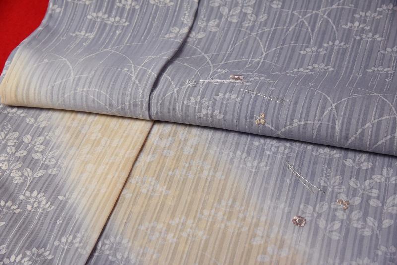 紗の訪問着 フルオーダー手縫いお仕立て付き 夏物 京都名門「染の北川」謹製 秋草模様