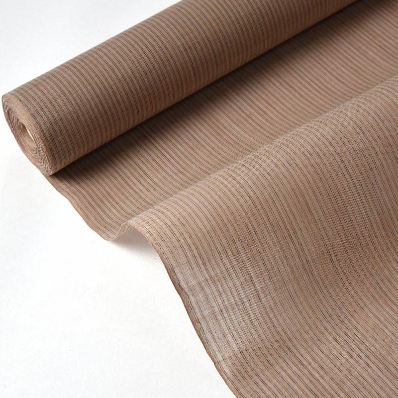 能登上布 フルオーダー手縫いお仕立て込み 夏物 本麻手織 最高峰の夏着物 茶色に黒糸 細縞 石川県指定無形文化財 広幅  裄丈75.5cmまで