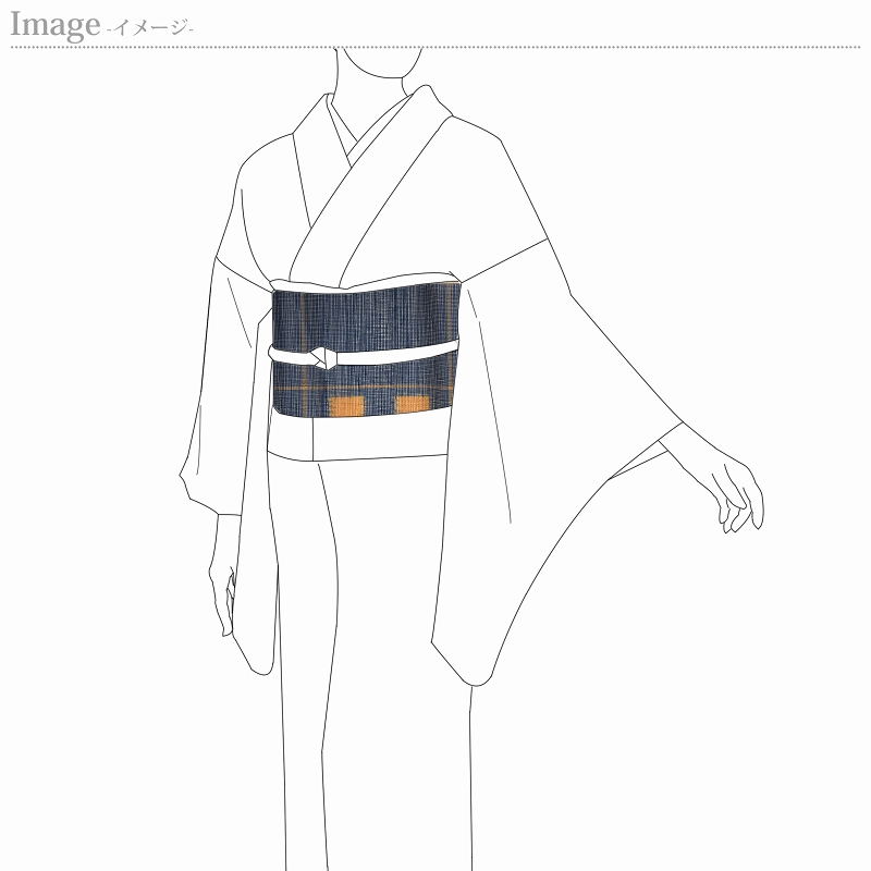 夏帯 お仕立て付き 紗 西陣織「帯屋捨松」 八寸名古屋帯 六通柄 丹波絣 濃藍色 正絹 夏物 カジュアル用