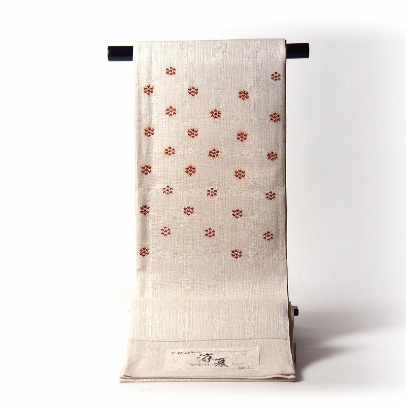 夏物【送料無料】【お仕立て付き】正絹 織り帯 紗紬にすくい織 アイボリー色 お洒落着用の袋帯(お太鼓柄)普段着/カジュアル/遊び着