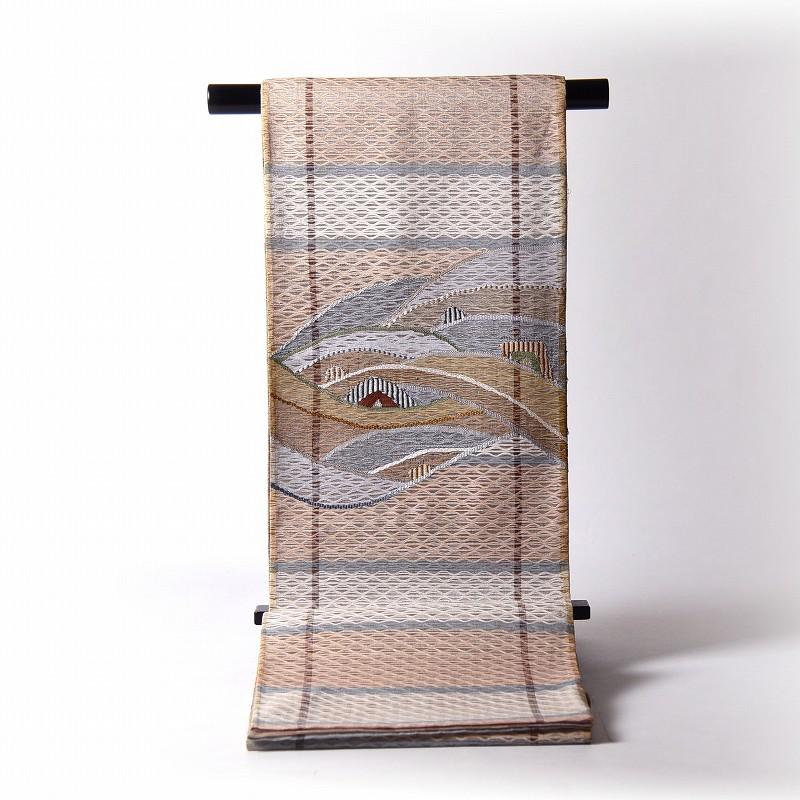 夏物【送料無料】【お仕立て付き♪】正絹 すくい織 袋帯(お太鼓柄) 織柄 波/薄茶、生成り 【夏帯/夏紬に】