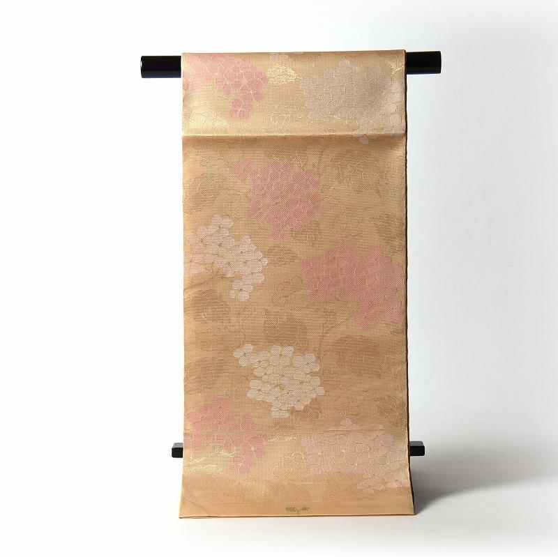 夏物【送料無料】【お仕立て付き♪】正絹 西陣織「織吉」謹製 紗 袋帯(六通柄)織柄 紫陽花/淡いオレンジ色 【夏帯/無地、訪問着、付下げ、小紋に】