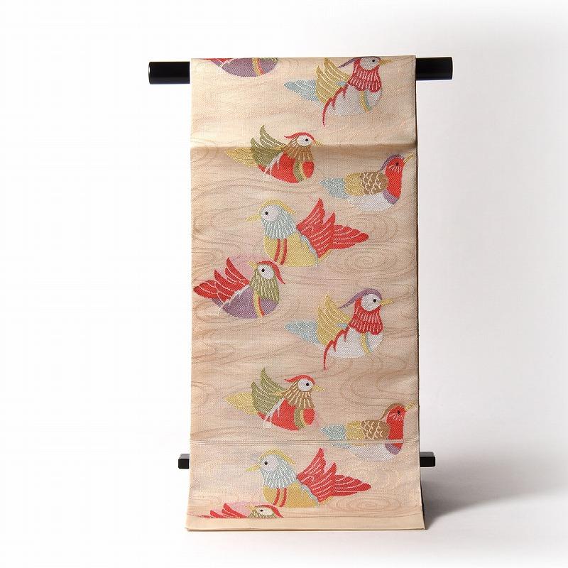 夏物【送料無料】【お仕立て付き♪】正絹 紗 袋帯(六通柄)織柄 流水に鴛鴦/薄ベージュ系色 【夏帯/無地、訪問着、付下げ、小紋に】