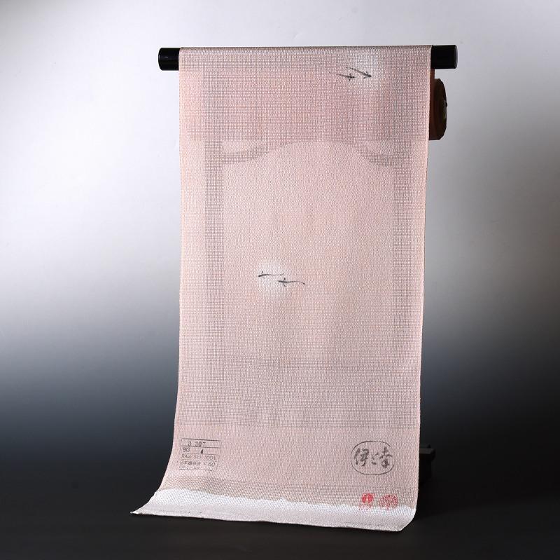 夏物 絽ちりめん小紋 手縫いお仕立て付き 染小紋 メダカ くすんだ桃色 裄丈約67.5cmまで 送料無料