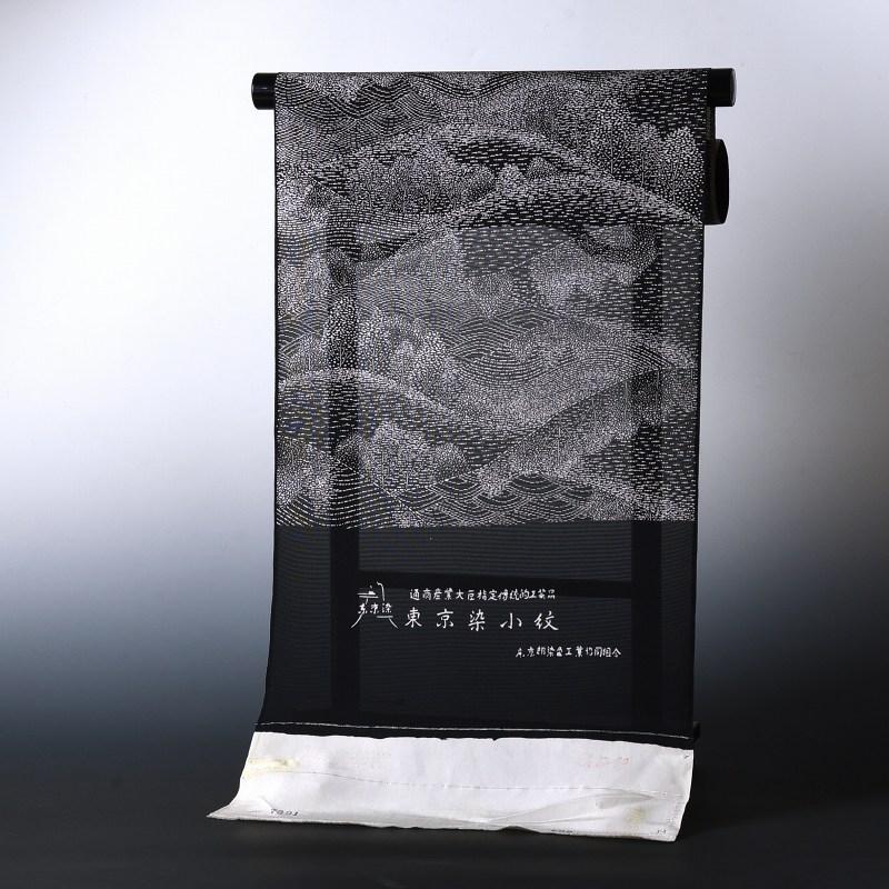 夏物 絽小紋 手縫いお仕立て付き 東京染小紋 山々 黒色 絽(三本絽)裄丈約69cmまで 送料無料