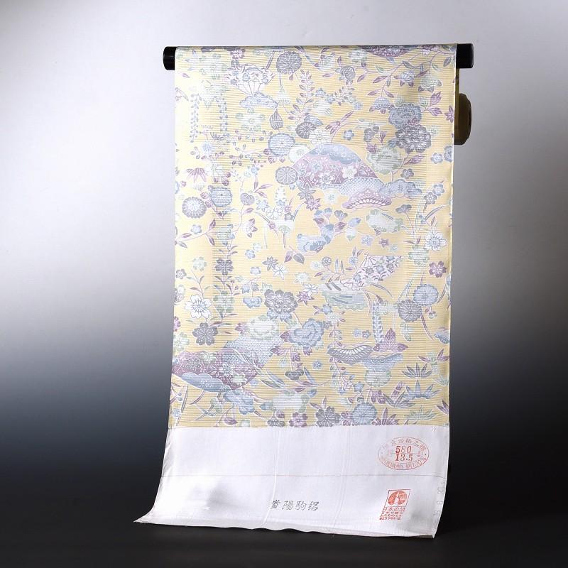夏物 絽小紋 手縫いお仕立て付き 染小紋 淡い紅型調柄 クリーム色 絽(五本絽)裄丈約70.5cmまで 送料無料