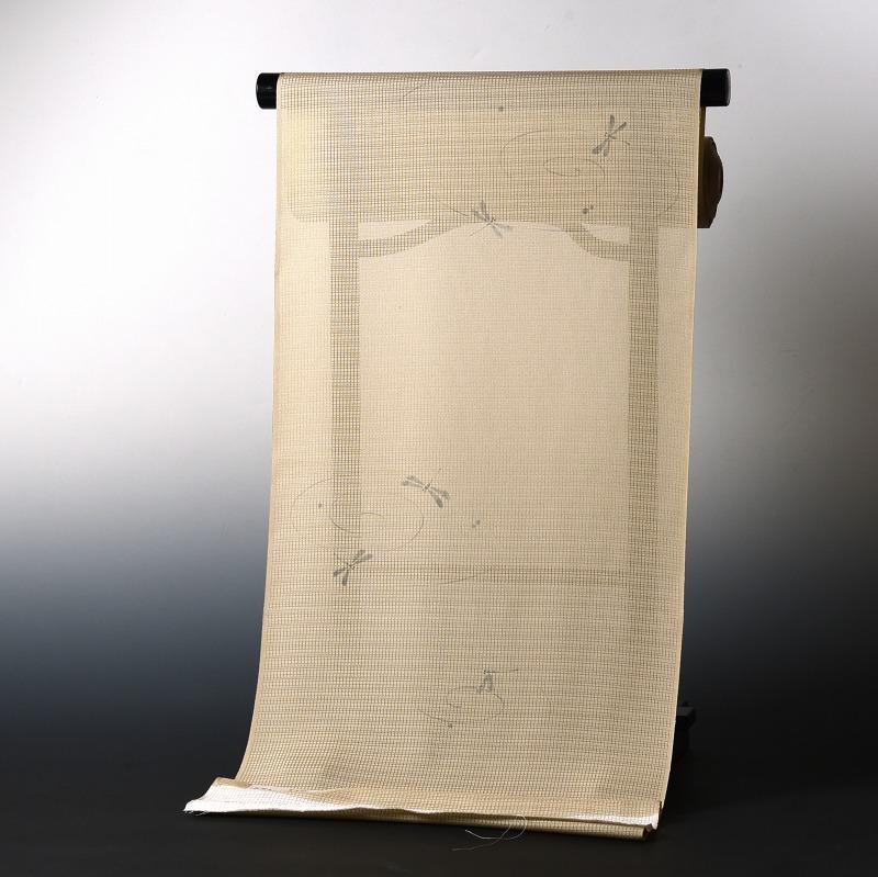 夏物 絽ちりめん小紋 手縫いお仕立て付き 染小紋 トンボ ベージュ系色 五泉 裄丈約69cmまで 送料無料