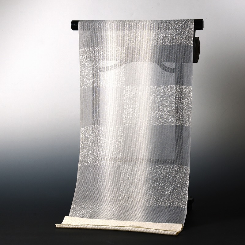 夏物 絽紗 手縫いお仕立て付き 染小紋 あられ文様 灰色ぼかし 裄丈約66.5cmまで 送料無料