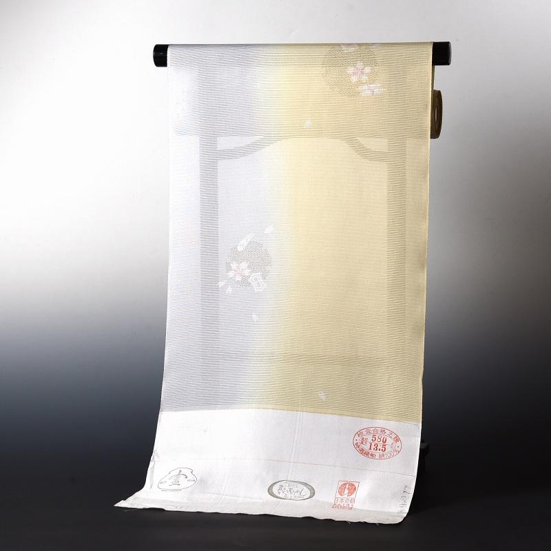 夏物 絽小紋 手縫いお仕立て付き 染小紋 雪輪に花びら クリーム色と灰色 壷金 絽(五本絽)裄丈約68.5cmまで 送料無料