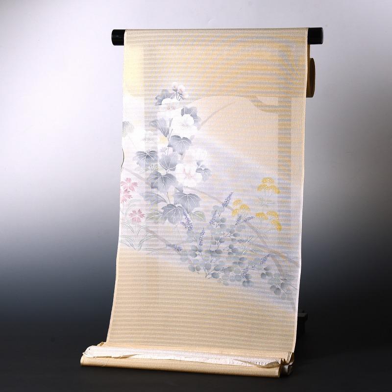 夏物 付下げ 手縫いお仕立て付き 夏秋のお花 クリーム色 大塚 絽ちりめん 裄丈約67cmまで 送料無料