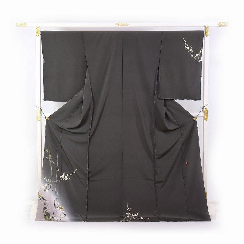 加賀友禅 訪問着 送料無料 手縫いお仕立て付き 本加賀友禅 柿本市郎氏作 初音(冬~春の着用におすすめ)灰緑色 身長168cm位まで、裄70cmまで セミフォーマル 準礼装