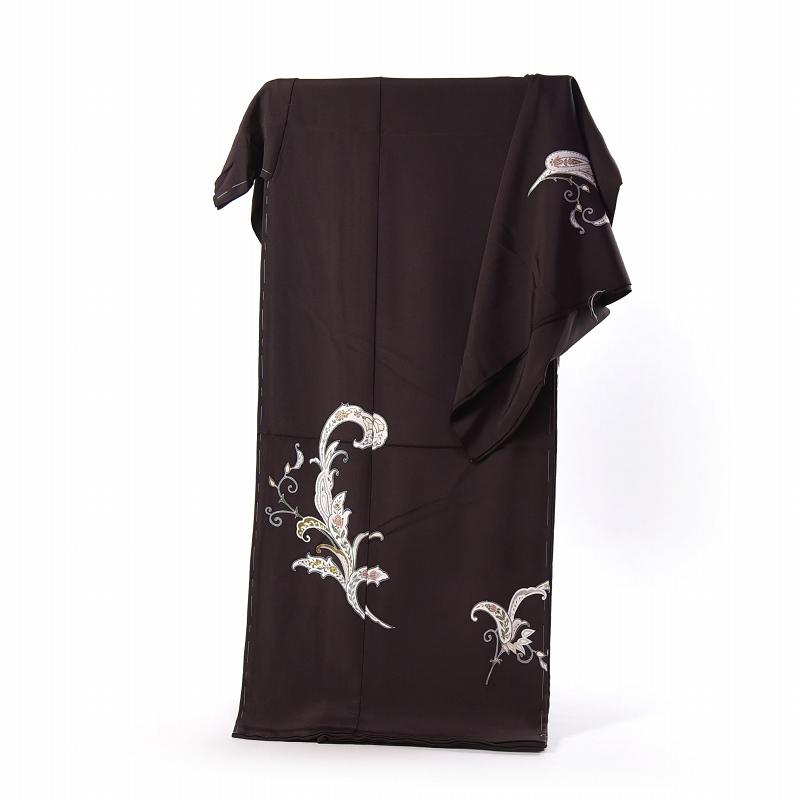 加賀友禅 訪問着 着物 手縫いお仕立て付き 本加賀友禅 寺西英樹作 サラサ(通年の着用可)濃茶色 身長168cm位まで、裄70.5cmまで 送料無料