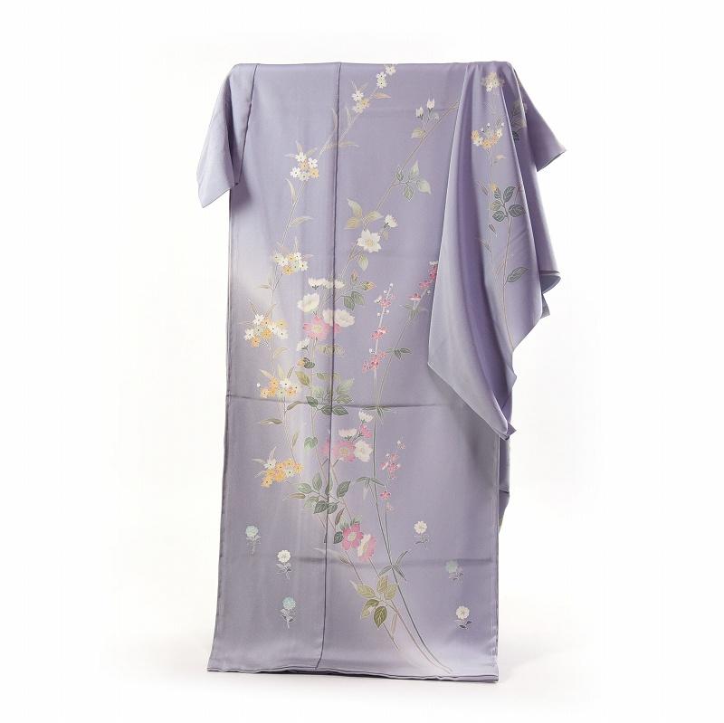 加賀友禅 訪問着 着物 手縫いお仕立て付き 本加賀友禅 太田征夫作 野いばらこでまり(春の着用におすすめ)薄青紫色 身長168cm位まで、裄70.5cmまで 送料無料