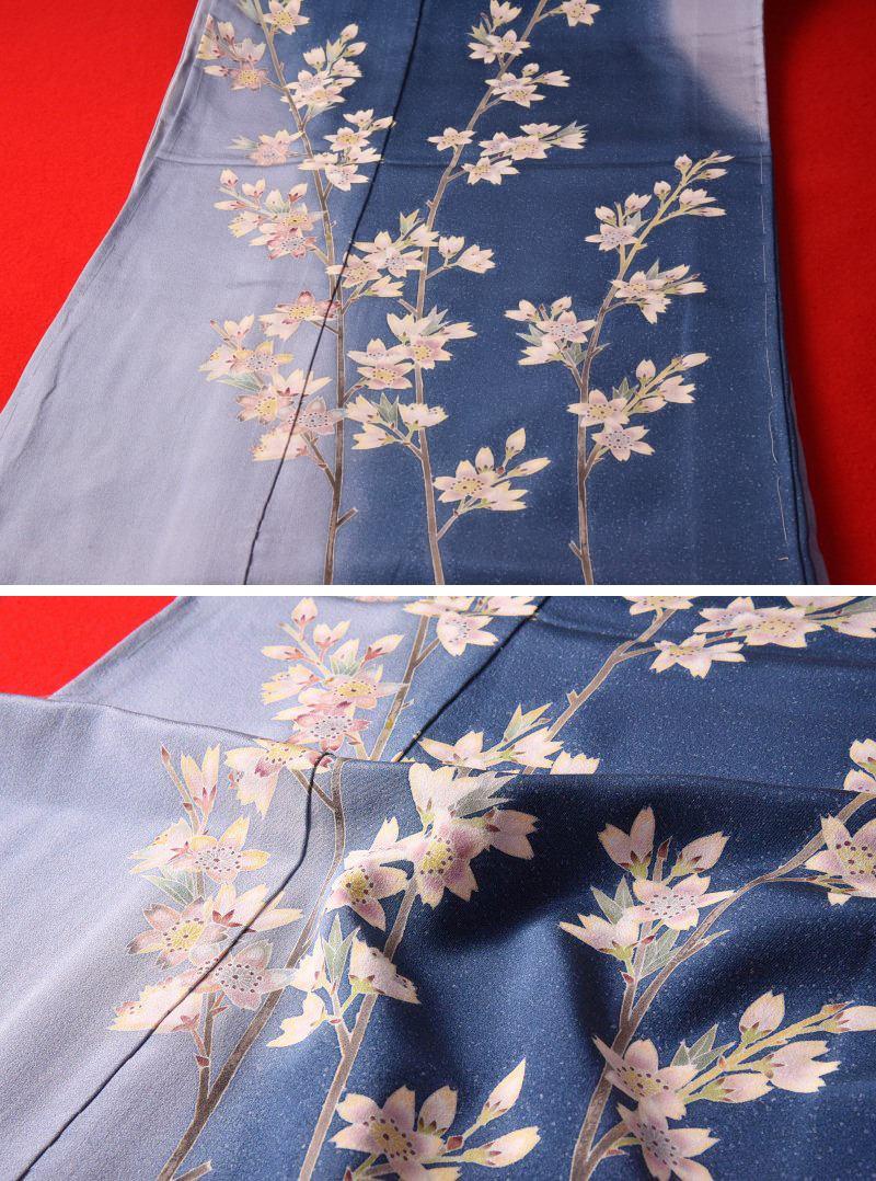 加賀友禅 訪問着  フルオーダー手縫いお仕立て付き 本加賀友禅 片山則夫氏作 山桜(春の着用におすすめ)藍色、水色 身長168cmまで、裄70.5cmまで