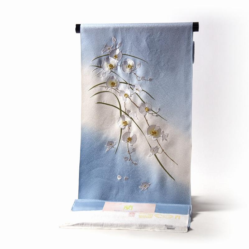 付下げ 手縫いお仕立て付き 胡蝶蘭 京刺繍 ぼかし染め 空色 裄68.5cmまで 正絹 準礼装用/セミフォーマル用