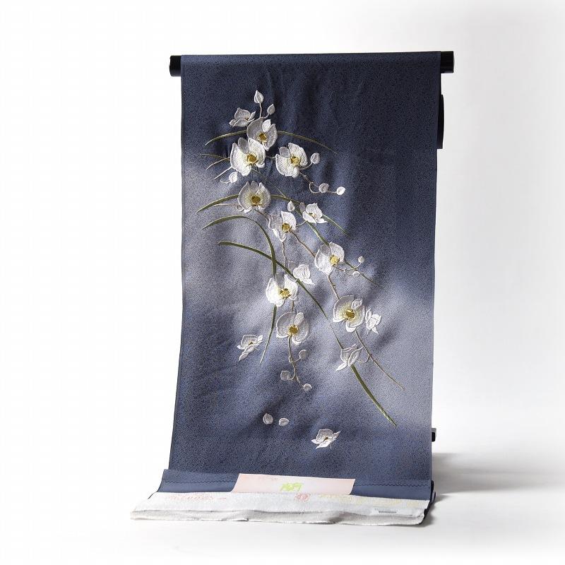 付下げ 手縫いお仕立て付き 胡蝶蘭 京刺繍 ぼかし染め グレー色 裄68.5cmまで 正絹 準礼装用/セミフォーマル用