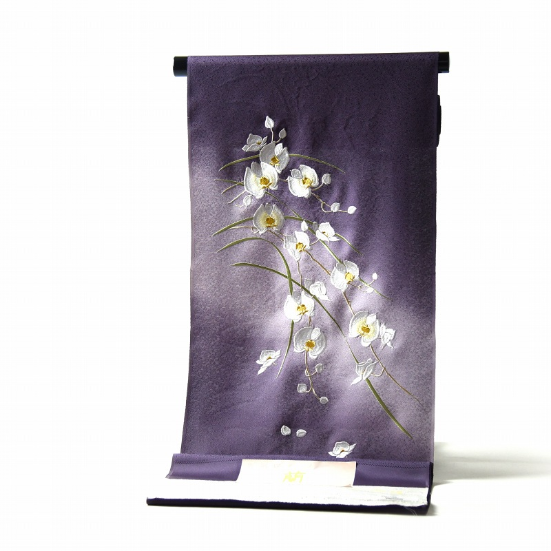 付下げ 手縫いお仕立て付き 胡蝶蘭 京刺繍 ぼかし染め 紫色 裄68.5cmまで 正絹 準礼装用/セミフォーマル用