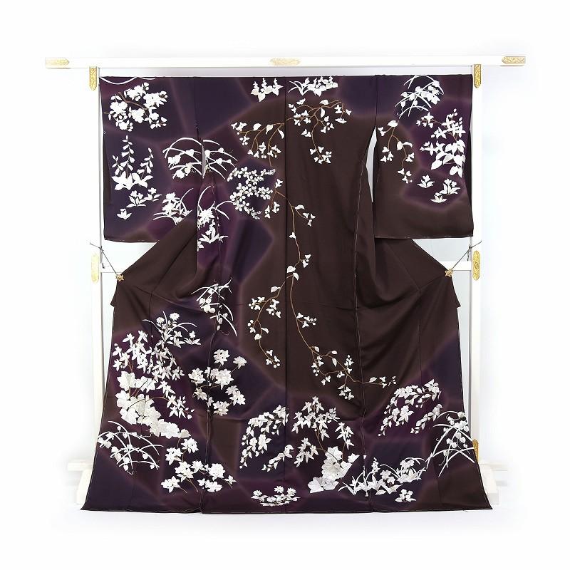 豪華手刺繍 訪問着 袷フルオーダー手縫いお仕立て付き 桜、蔓草、萩、菊 こげ茶色、濃紫色 身長170cmまで、裄71.5cmまで 結婚式・披露宴・パーティ・お見合い・結納・入卒式・宮参り・七五三に♪送料無料