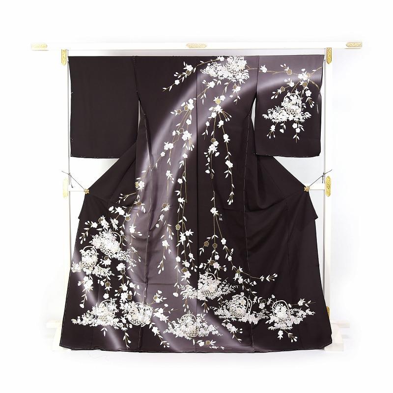 豪華手刺繍 訪問着 袷フルオーダー手縫いお仕立て付き 枝垂れ桜に花籠 こげ茶色 身長168cmまで、裄69.5cmまで 結婚式・披露宴・パーティ・お見合い・結納・入卒式・宮参り・七五三に♪送料無料