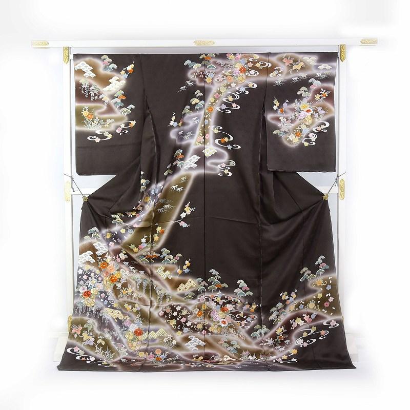 スワトウ刺繍 訪問着 袷フルオーダー手縫いお仕立て付き ぼかし染めに花籠文様 こげ茶系色 身長170cmまで、裄70.5cmまで 結婚式・披露宴・パーティ・お見合い・結納・入卒式・宮参り・七五三に♪送料無料