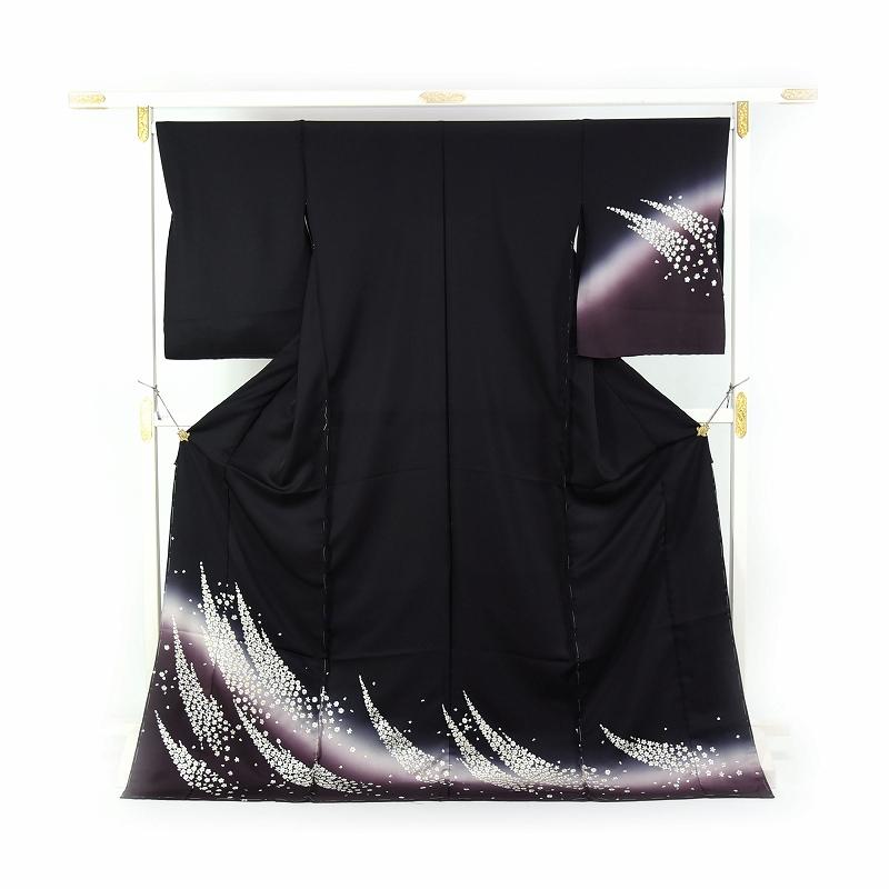 豪華手刺繍 訪問着 袷フルオーダー手縫いお仕立て付き 小花の吹き寄せ 黒色、紫紺色 身長168cmまで、裄69.5cmまで 結婚式・披露宴・パーティ・お見合い・結納・入卒式・宮参り・七五三に♪送料無料