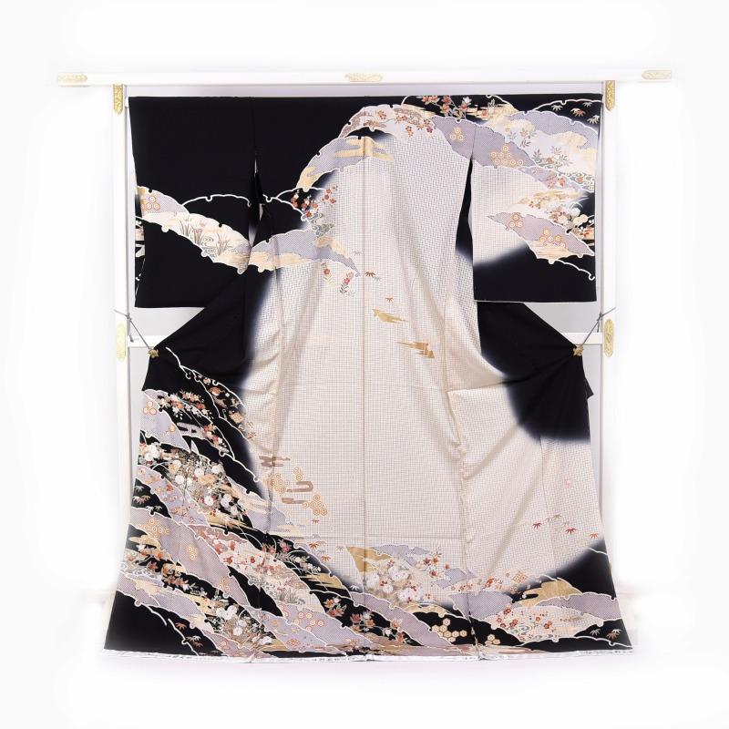 スワトウ刺繍 訪問着 袷フルオーダー手縫いお仕立て付き 雪輪取り 黒色、白色 身長170cmまで、裄70cmまで 結婚式・披露宴・パーティ・お見合い・結納・入卒式・宮参り・七五三に♪送料無料 演歌歌手日野美歌さん監修