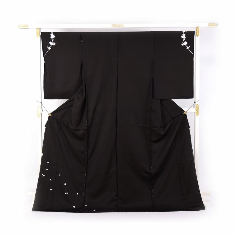 訪問着 フルオーダー手縫いお仕立て付き 手刺繍 桜 花びら 黒色 身長170cmまで、裄70cmまで 送料無料