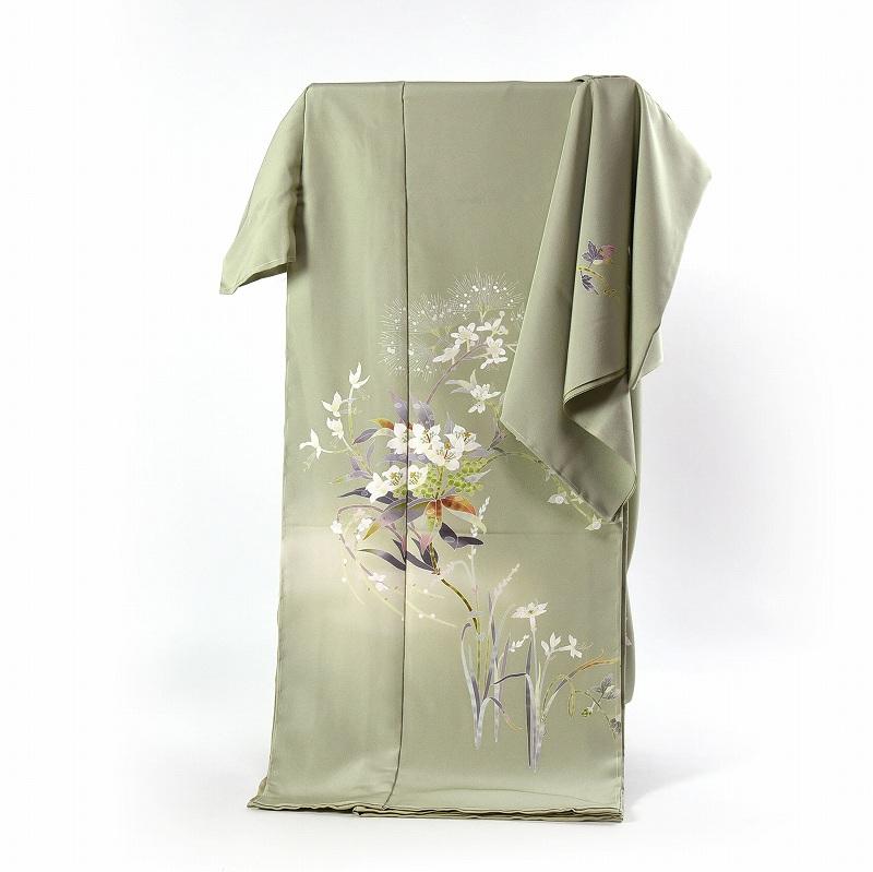 訪問着 送料無料 フルオーダー手縫いお仕立て付き 友禅作家 百貫石峰作 蘭?(通年の着用可)草系色 身長170cmまで、裄70cmまで