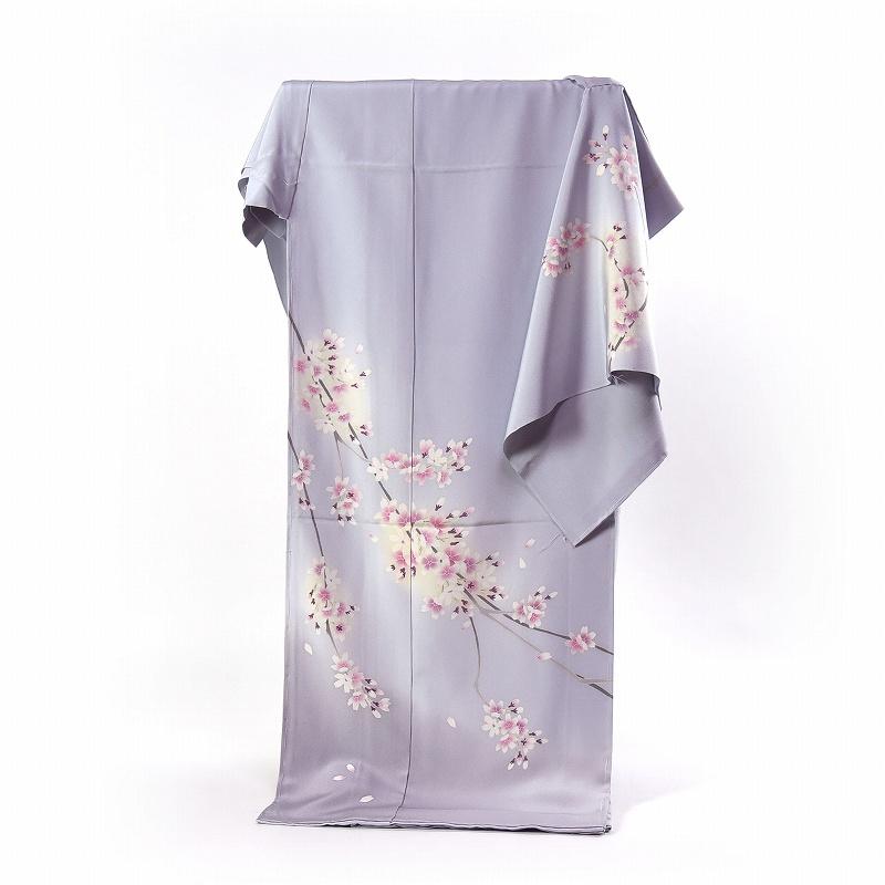 加賀友禅 訪問着 送料無料 フルオーダー手縫いお仕立て付き 本加賀友禅 吉本大輔作 桜(春の着用におすすめ)ごく淡い紫みの明灰色 身長170cmまで、裄70cmまで
