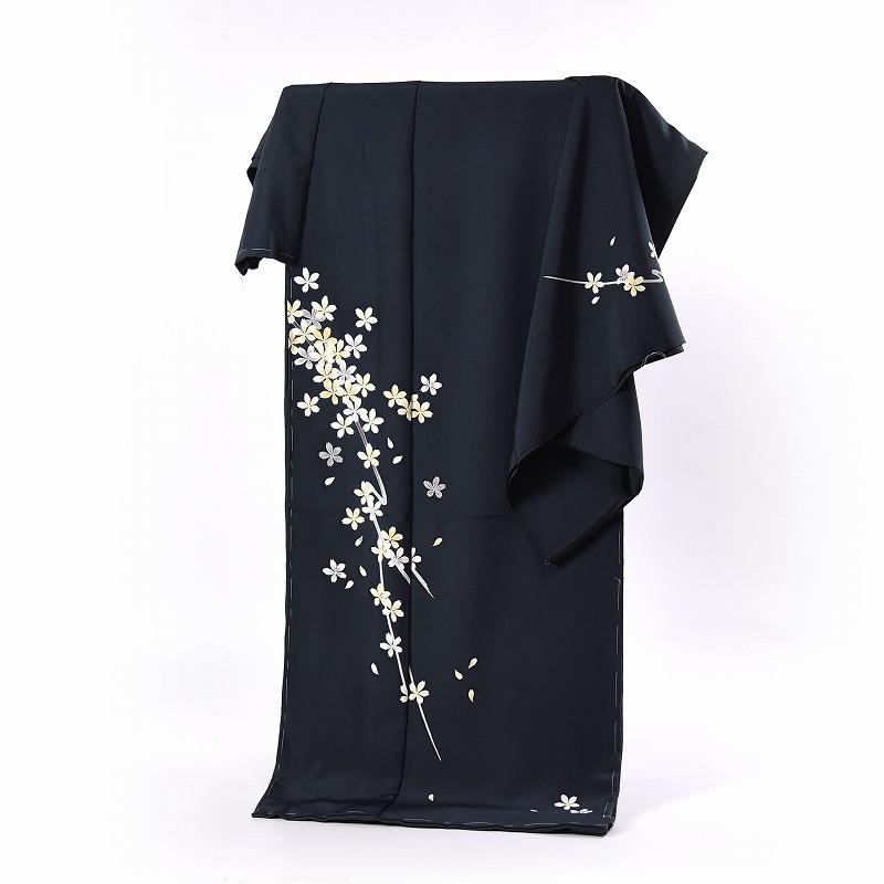 加賀友禅 訪問着 送料無料 フルオーダー手縫いお仕立て付き 本加賀友禅 鬼島武司氏作 桜(春の着用におすすめ)黒に近い青緑色 身長168cmまで、裄69.5cmまで