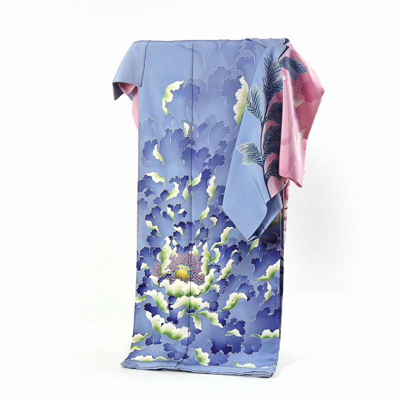 加賀友禅 訪問着 送料無料 手縫いお仕立て付き 本加賀友禅 木村喜博氏作 牡丹(通年の着用可能)薄赤紫色と薄青色 身長168cm位まで、裄70cmまで セミフォーマル 準礼装