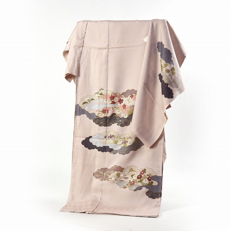 藤井寛 訪問着 送料無料 フルオーダー手縫いお仕立て付き 皇室献上作家藤井寛氏作 薄ベージュ色 雲取りに花々 身長172cmまで、裄70.5cmまで 通年の着用可