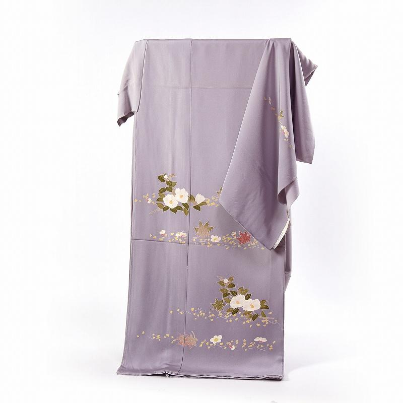 加賀友禅 訪問着 送料無料 フルオーダー手縫いお仕立て付き 本加賀友禅 大村洋子氏作 吹き寄せ(通年の着用可)紫みの灰色 身長166cmまで、裄68cmまで