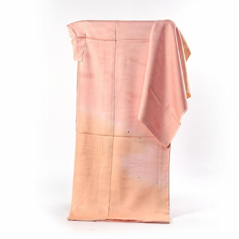 訪問着 手縫いお仕立て付き プラチナ箔 縫い取り 丹後ちりめん ロング丈 薄珊瑚色~クリーム色のぼかし染め 送料無料
