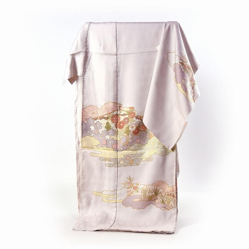 藤井寛 訪問着 送料無料 フルオーダー手縫いお仕立て付き 皇室献上作家藤井寛氏作 ごく薄いピンクベージュ色 雲取りに花々 身長172cmまで、裄70.5cmまで 通年の着用可