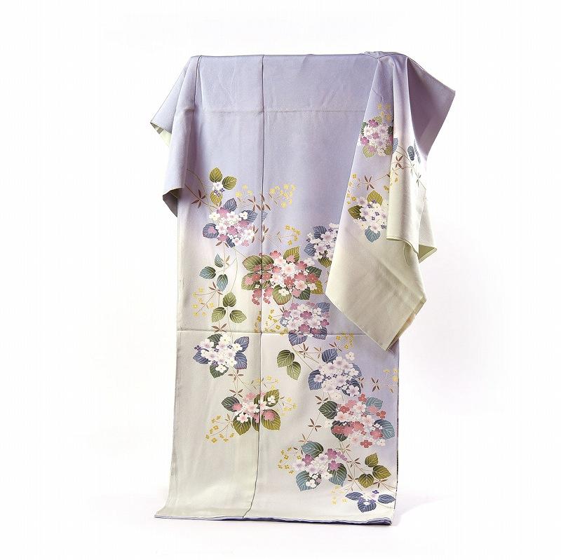 訪問着 フルオーダー手縫いお仕立て付き 紫陽花のようなお花 淡い青紫色、白緑色 身長170cmまで、裄70.5cmまで 通年の着用可 送料無料 セミフォーマル
