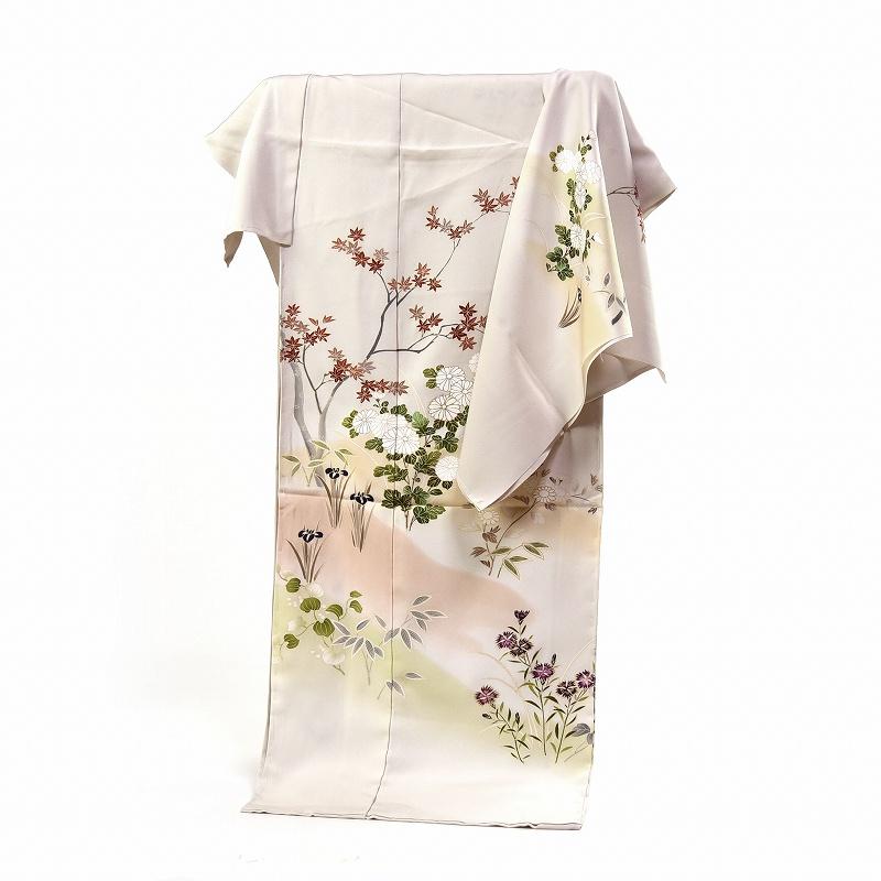 訪問着 フルオーダー手縫いお仕立て付き 手描き 写実的な花々 象牙系色 身長170cmまで、裄70.5cmまで 通年の着用可 送料無料 セミフォーマル