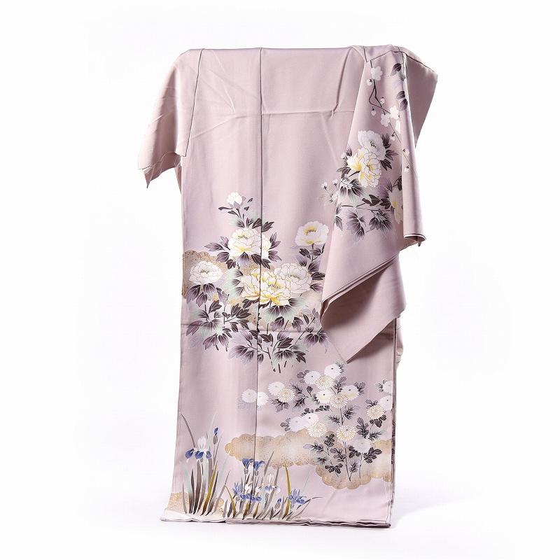 訪問着 フルオーダー手縫いお仕立て付き 手描き 写実的な花々 ごく淡い小豆色 身長170cmまで、裄70.5cmまで 通年の着用可 送料無料 セミフォーマル