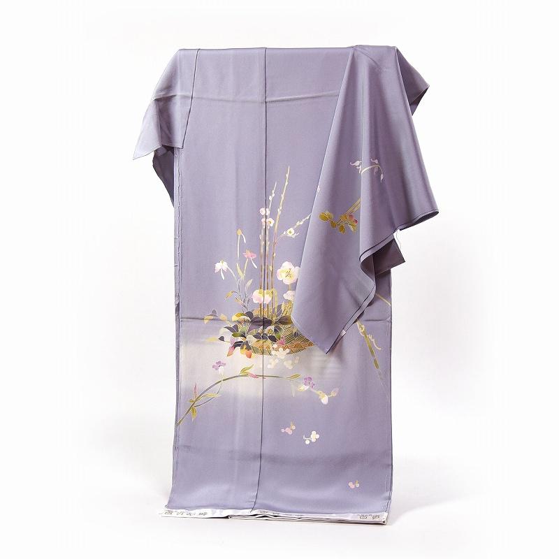 訪問着 フルオーダー手縫いお仕立て付き 加賀友禅作家 百貫石峰作 花籠文様 淡い青紫色 身長170cmまで、裄70cmまで 通年の着用可 送料無料 セミフォーマル